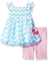 Baby Girls' 2 Piece Flutter Sleeve Chiffon Bubble Dress Set With Capri Short