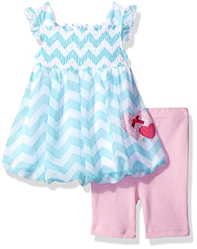 - Bon Bebe Baby Girls' 2 Piece Flutter Sleeve Chiffon Bubble Dress Set with Capri Short, Zig Zag Blue, 18 Months
