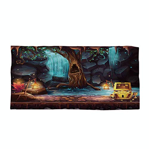 iPrint Cotton Microfiber Beach Towel,Fantasy,Cartoon Style Cave Landscape with a Big Tree Treasure Chest Lamps and Waterfall,Multicolor,for Kids, Teens, and Adults