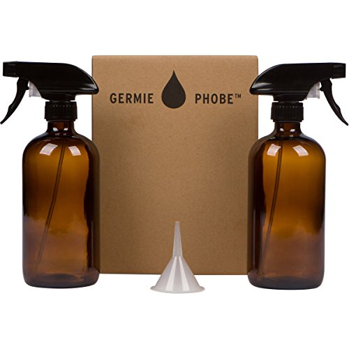 16oz Amber Glass Spray Bottle 2 Pack with Mist and Stream Sprayer and BONUS Funnel and Recipe Card