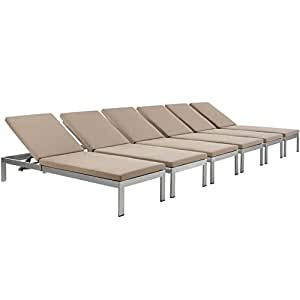 Shore Set of 6 Outdoor Patio Aluminum Chaise with Cushions