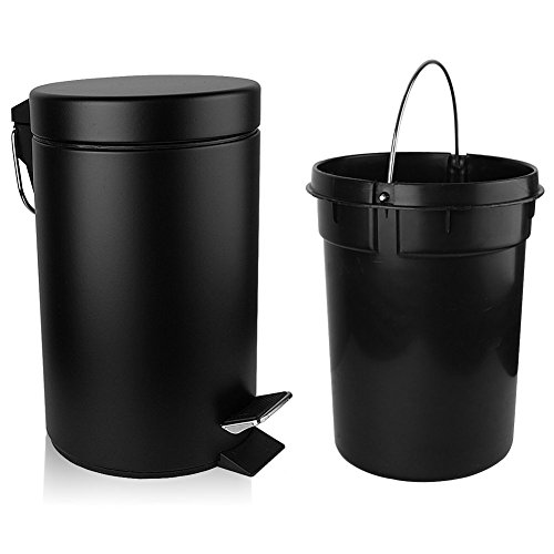 H+LUX Bathroom Trash Can with Lid Soft Close, Round Mini Trash Can with Removable Inner Wastebasket and and Stainless Steel Foot Pedal, Anti-Fingerprint Matt Finish, 0.8 Gallon/3 Liter, Black