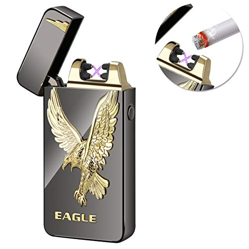 Kivors USB Rechargeable Flameless Electronic Dual Pulse Arc Cigarette Lighter Belief, Black Eagle -