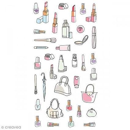 Artemio puffies-Fashionista Trucco Set di 37 Adesivi, plastica, 7,5 x 0,3 x 18 cm 5x 0 3x 18cm 11004583