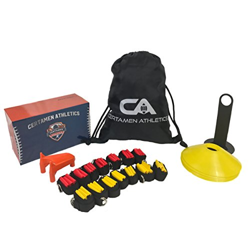 14 Player Flag Football Set - 65 Total Pieces, Football Flags For Kids And Adults, Youth Football Kit | Includes 14 Belts, 3 Flags Each, 6 Cones And Stand, Carrying Bag And a BONUS Kicking Tee by Certamen Athletics