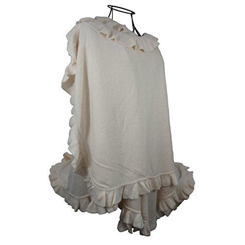 Women Ruffle Edge Poncho Knitted Shawl Premium Lady Soft Knit Cape Jacket Fashion Scarf Stretchy Wrap Over Solid Color Girl Large Shawl Elegant Cloak Warmer - Cream ()