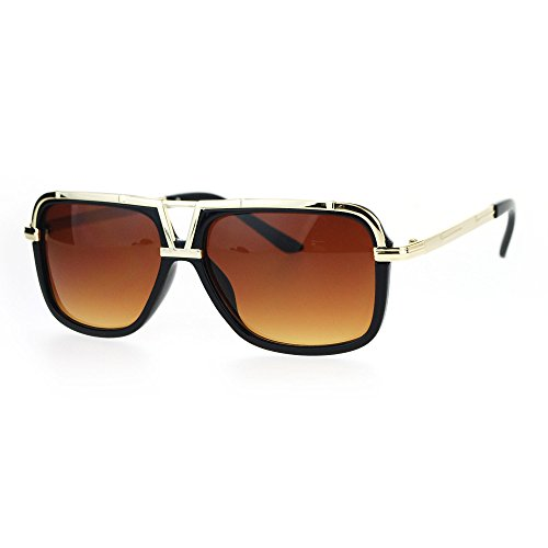 SA106 Mens Racer Aviator Retro Hip Hop Rapper Celebrity Sunglasses Black Gold - Sunglasses Celebrity Men