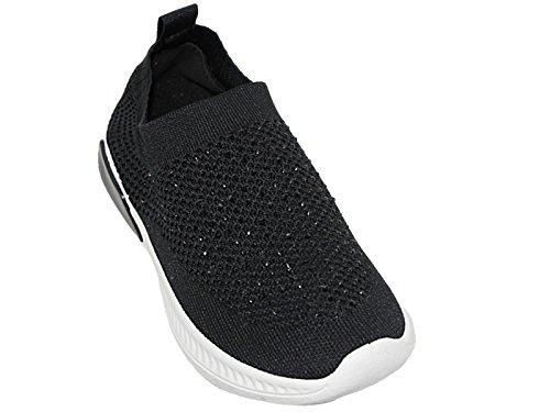 Sports cordones Slip Súper Elastic Krush Calzado Shoes Damas 8 3 lona con Sock de Tamaño Go Negro Fashion Trainer Malla Foster On Ligero AqSCww6