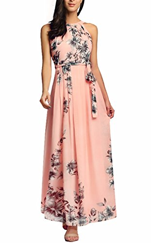 4ff63224c5 Galleon - Ruiyige Women s Sleeveless Halter Neck Vintage Floral Print Maxi  Dress 01-pink Large