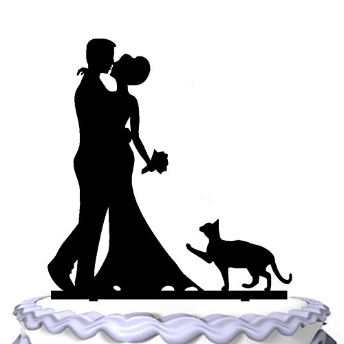 Price comparison product image Meijiafei Embracing Bride and Groom With Cat Silhouette Wedding Cake Topper