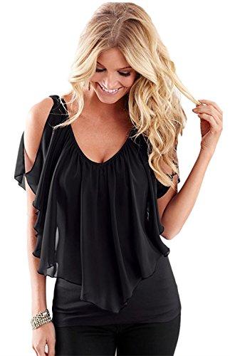 - FISOUL Womens V Neck Ruffle-Front Flutter Sleeve Tops for Women (Black,M)