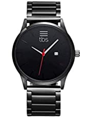 TBS Designer Mens Watch- Gunmetal Grey Stainless Steel- Premium Japanese Quartz Movement- Classic Minimalist Design- Midnight Red Edition