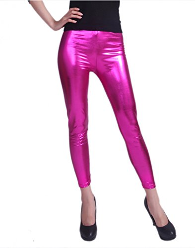 HDE Women's Shiny Leggings Metallic Wet Look Stretch Pants Clubwear (Hot Pink, XX-Large)