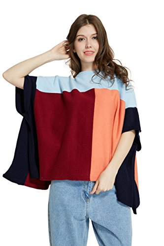 Hide Away Color Block Knit Poncho Tricolor Thick Poncho ()