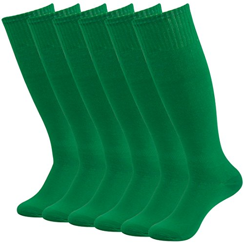 Fasoar Women mens Youth Girls Boy's Solid Color Design Knee High Socks Assorted 6-Packs Green  6 pack green  One Size - Green Knee Socks