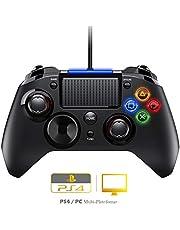 【Version Améliorée】 Manette PS4 Filaire, PS3 Câblé Contrôleurs de Jeu avec Trigger, Compatible avec Playstaion4 /PS3 / PC (Windows XP / 7/8 / 8.1/10) / Android/Steam
