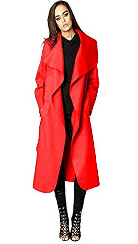 OgLuxe Womens Ladies Italian Design Long Waterfall Belted Cape Trench Long Sleeve coat (One Size, (Long Red Trench Coat)