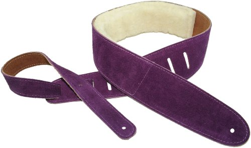 Belt Youth Standard - Perris Leathers Suede Guitar Strap Soft Padded For Guitars | Bass | Acoustic | Electric, Sheep Skin Pad, 2.5 Inch Leather Width, Adjustable, Purple