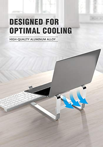 Laptop Stand for Desk, SOQOOL Laptop Riser for Desk, Ventilated Ergonomic Aluminum Laptop self Compatible with 11 14 15.6 17.3 Inch Work from Home Silver