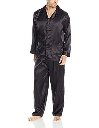Intimo Men's Poly Satin Pajama Set, Black, Small