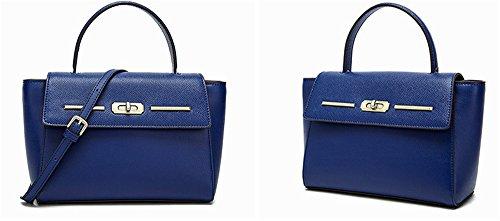 La mujer Xinmaoyuan bolsos de cuero auténtico verano Dama bolsas de hombro bolsa bandolera,vino rojo Blue