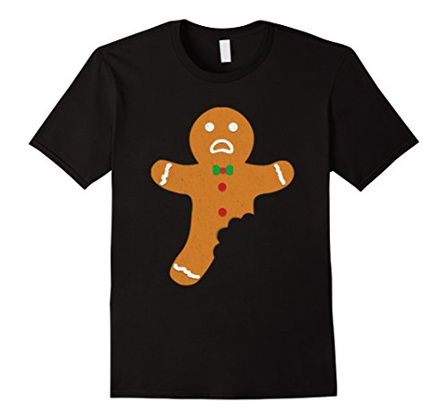 Mens Gingerbread Cookie for Christmas Funny Holiday Gift T-Shirt Large Black