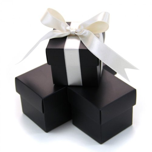 Boxes 2 Piece Favor - Koyal 2-Piece 50-Pack Square Favor Boxes, Black