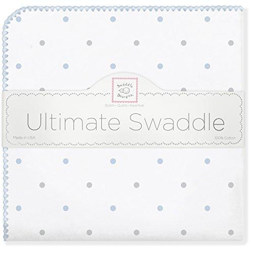 SwaddleDesigns Ultimate Swaddle Blanket, Made in USA, Sterling Little Dots, (Dot Receiving Blanket)