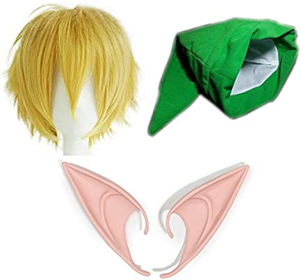 The Legend of Zelda Juego completo gorra + peluca + orejas de elfo - Traje de vinculo para adultos y niños - Perfecto para Carnaval y Cosplay - mujeres ...