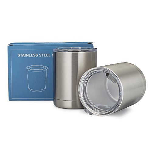 Lowball Stainless Steel Cups with Lids - Coffee Mugs Tumblers - Tea or Mixed Drinks - Set of Two 12 oz - Double Walled and Vacuum Sealed Insulated - BPA Free - Best Value - by Avito