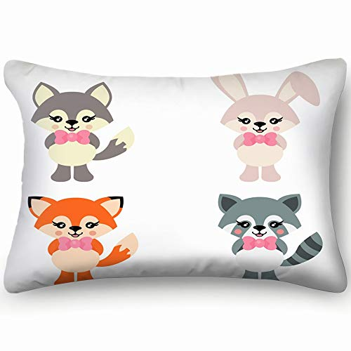 best bags Cartoon Cute Bunny Wolf Fox Raccoon Animals Wildlife Animal Holidays Skin Cool Super Soft and Luxury Pillow Cases Covers Sofa Bed Throw Pillow Cover with Envelope Closure 1624 Inch