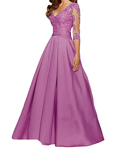 Jdress Women's v-Neck Solid Three-Quarter-Sleeve Long Gown Dress, Light Purple, 4 Alfred Angelo Mother Of The Bride