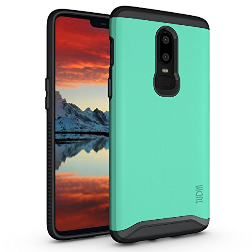 OnePlus 6 Case, TUDIA Slim-Fit Heavy Duty [Merge] Extreme Protection/Rugged but Slim Dual Layer Case for OnePlus 6 (Mint)