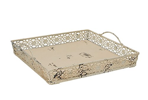Coffee Beige Tray - Grace Home Vintage Antique Design Decorative Metal Serving Tray with 2 Handles (Beige)