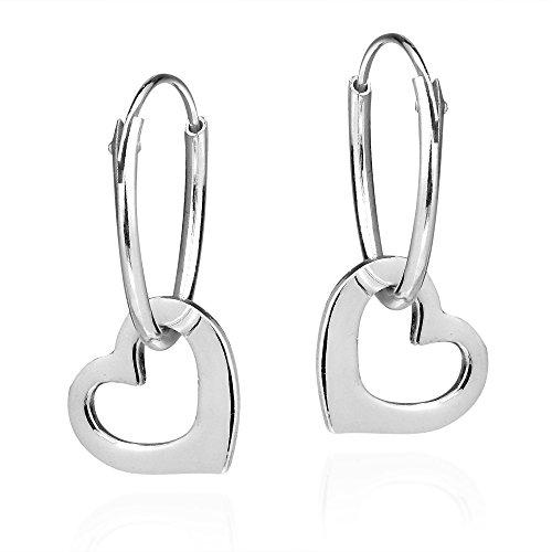 (Sweet Love Dangle Heart .925 Sterling Silver Hoop Earrings)
