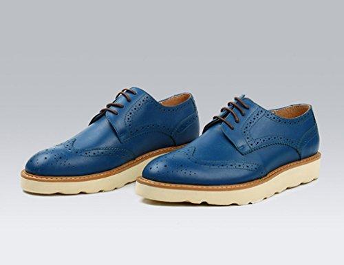 de UK6 Retro Ocio de Color los Tamaño Piel Estilo del de Hombre de Grueso Zapatos Azul 5 de Británico Encaje Retro para EU40 Cuero Clásicos Hombres Zapatos Azul Zapatos FHwqY1