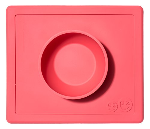 (ezpz Happy Bowl - One-piece silicone placemat + bowl (Coral))