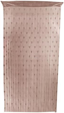 uxcell タッセルパネル ストリングカーテン ホームホテルドアウィンドウ用 ハートパターン 仕切りの装飾 コーヒー色