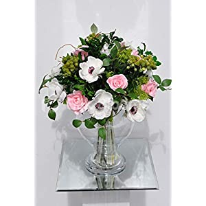 Silk Blooms Ltd Artificial Pale Pink Rose and White Anemone Flower Display w/Foliage and Berries 30