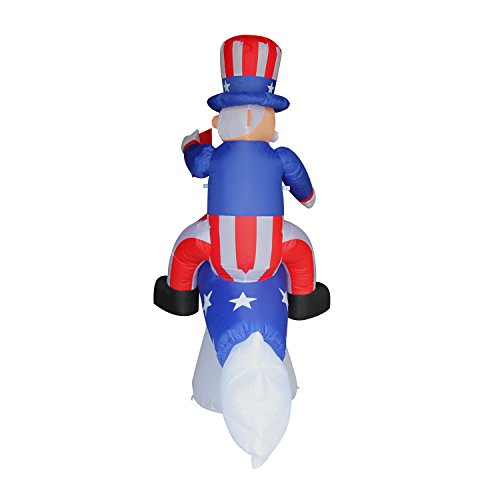 JF Deco 6 Ft Independence Day/ Flag Day Patriotic Inflatable Uncle Sam on Rocket Decorations Home Yard Outdoor Indoor Decoration by JF Deco (Image #3)
