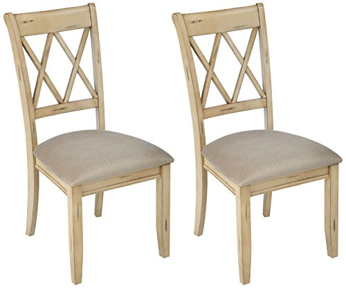 Ashley Furniture Signature Design - Mestler Dining Side Chair - Upholstered Seat - Set of 2 - Antique White ()