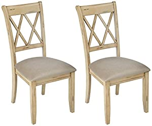 picture of Ashley Furniture Signature Design - Mestler Dining Side Chair - Upholstered Seat - Set of 2 - Antique White