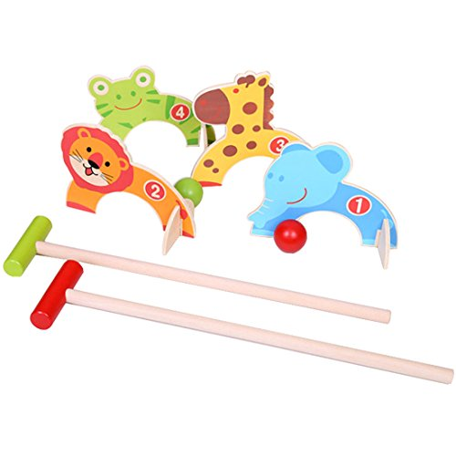 Finer Shop Cartoon Animals Sport Croquet Game Wooden Educational Toys Hölzern Lernspielzeug for kids