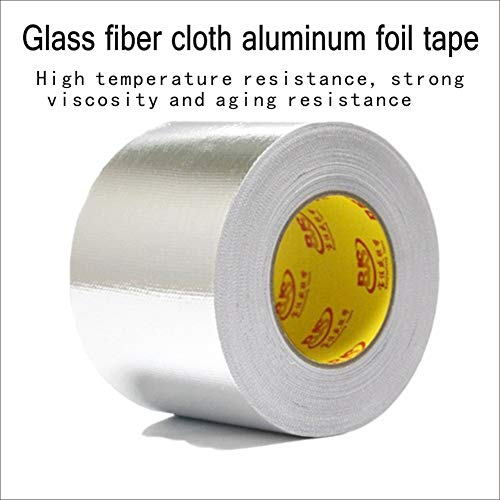 Aluminum foil Tape, Tear Proof, Heat Proof, Sealing, high Temperature Resistant, Waterproof, Reinforced Glass Fiber Cloth (Silver Grey, Thickness 0.15mm Width 50MM Length - Foil Tape Waterproof