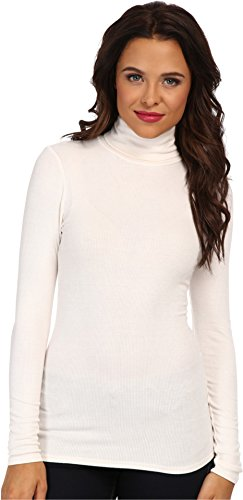 Three Dots Women's Long Sleeve Rib Turtleneck, Gardenia, Medium
