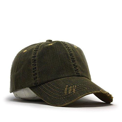 Distressed Dirty Wash Herringbone Cotton Adjustable Baseball Cap (Black) (Cap Vintage Ball)