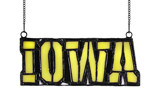 Alivagar NCAA Iowa Stained Glass Ornament Suncatcher, 6