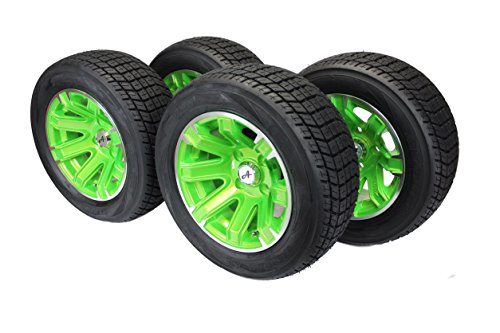 Antego (Set of 4) 20x8.00-12 4 Ply Golf Cart Tires & Green Aluminum Wheels ATW-044 10 X 8 Aluminum Wheel