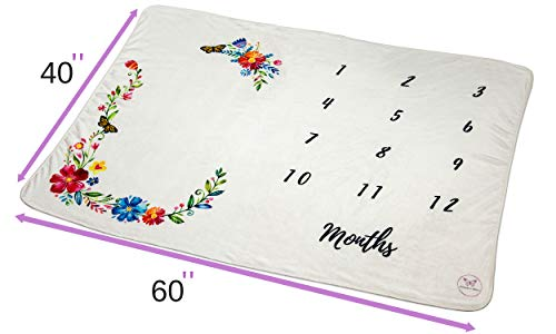 """Monarch Babies   Monthly Milestone Blanket - Floral 60"""" x 40"""" Thick Ultra-Soft Fleece Backdrop Baby Photography Prop for Newborn Boys & Girls by Monarch Babies (Image #5)"""
