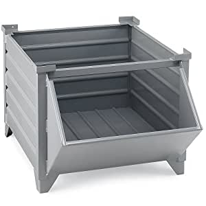 "Topper Corrugated Steel Bulk Containers - 36-2/5""Wx36-2/5""Lx29-1/2""H - Grey"